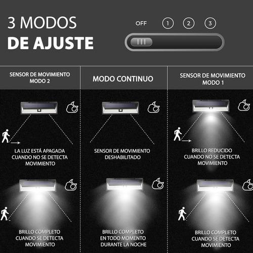 luz exterior solar + sensor movimiento 118 leds 1000 lumen resistente sol y agua