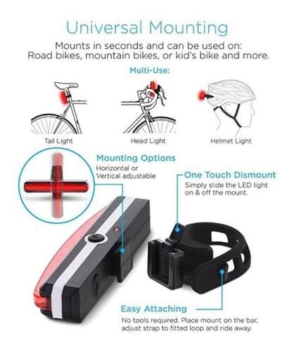 luz / foco recargable led para bicicleta delantera y trasera