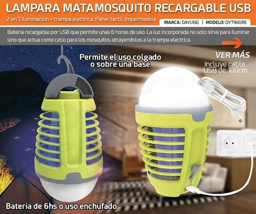 luz lampara led trampa mata mosquito recargable usb 5w ip44