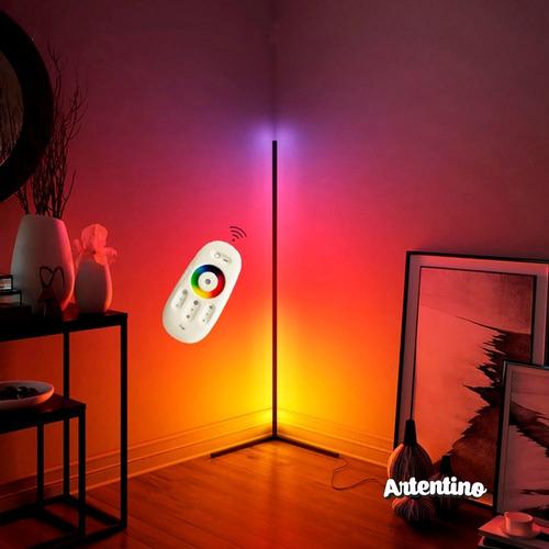 luz lampara pie esquinero pixel led rgb deco minimalista
