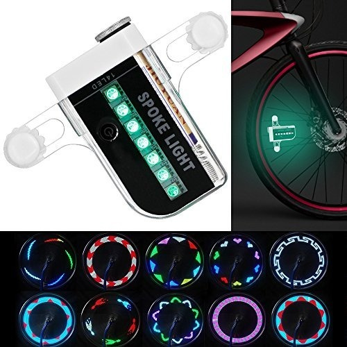 luz led bicicleta dibuja patrones rueda seguridad