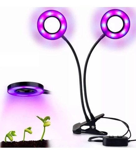 luz led cultivo grow doble regulable pinzas indoor