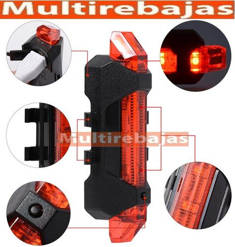 luz led de stop para usb recargable, 4 modos + bicicleta