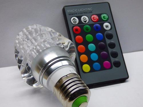 luz led de varios colores, rgb a control remoto tipo foco