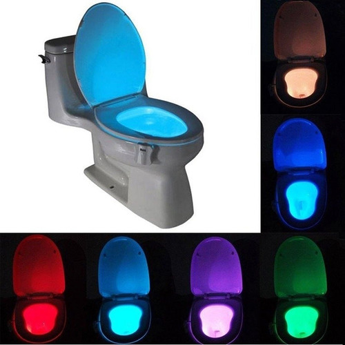 luz led inodoro 8 colores rgb baño sensor detecta movimiento