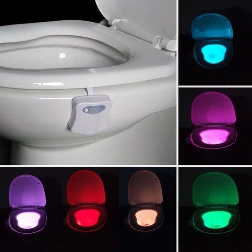 luz led inodoro multicolor sensor mov. funciona 100% oscurid