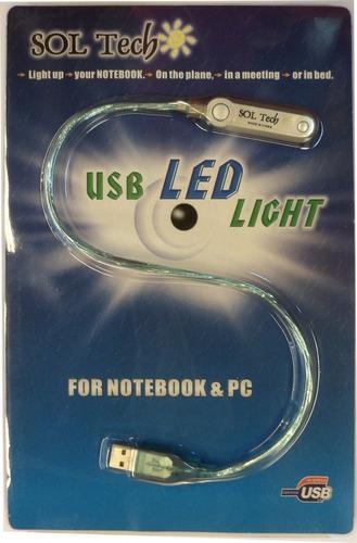 luz led lampara notebook portatil flexible usb linterna cable mallado tecla on off 2 led blancos sol tech