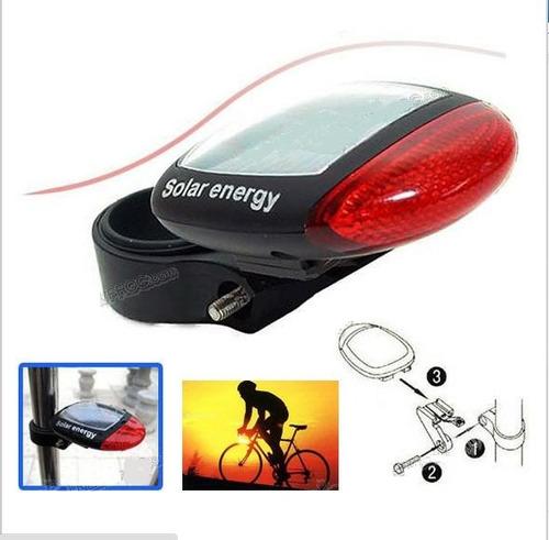 luz led roja trasera para bicicleta recargada energía solar