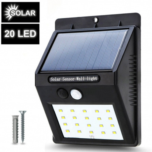 luz led solar para pared con sensor de movimiento 20 led