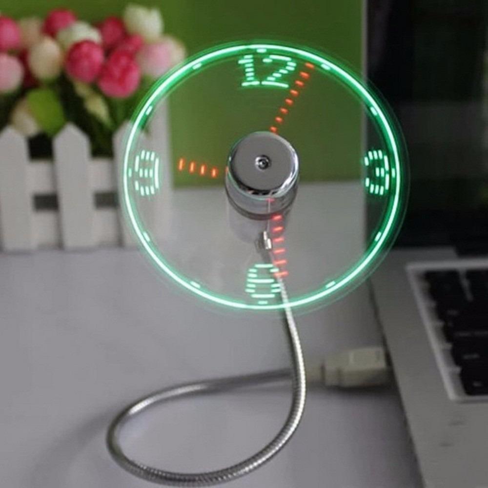 666b0484b7e Luz Led Usb Fan Tempo Clock Relógio De Mesa Legal Engenhoca - R  65 ...