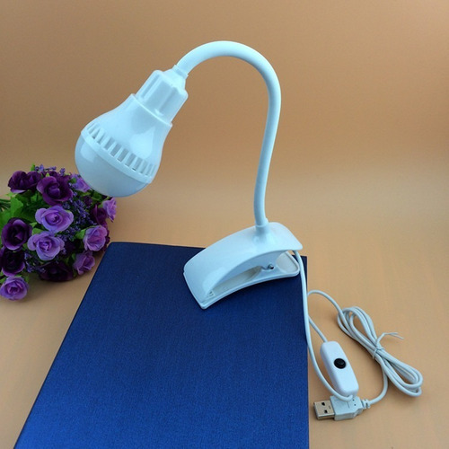 luz led usb velador flexible con pinza switch para encendido