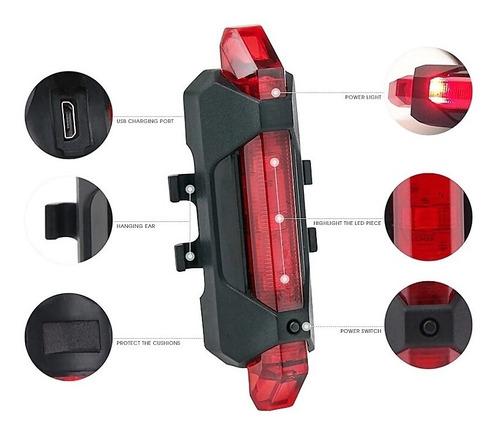 luz linterna recargable usb led bicicleta delantera o traser