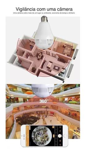 luz lâmpada 1080p wifi câmera panorâmica 360 graus lente
