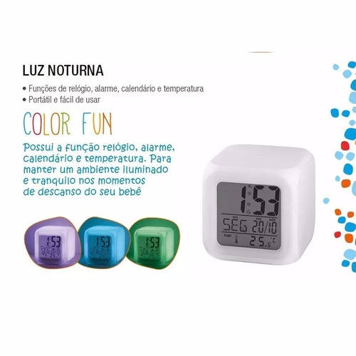 luz noturna color fun relogio multikids baby bb165 led