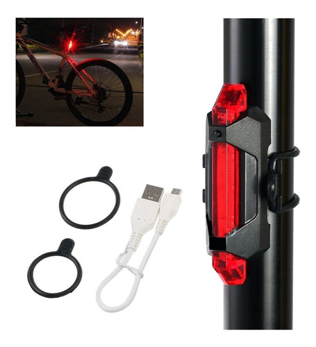 luz posterior de bicicleta - emergencia paro  usb recargable