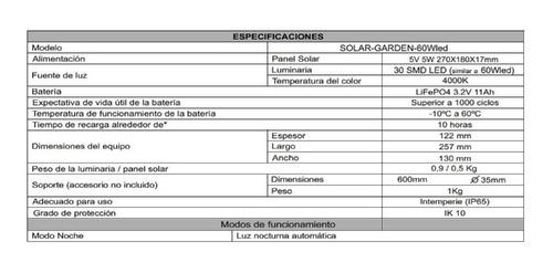 luz solar atomlux exterior 60w luz led ip65 batería