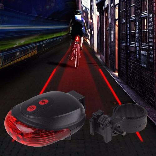 luz trasera bici 5 leds + 2 laser seguridad nocturna