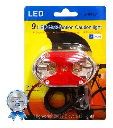 luz trasera bicicleta led 9 funciones pilas aaa - cc-online