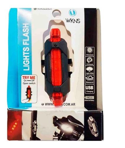 luz trasera wkns - recargable usb - 4 modos super brillante