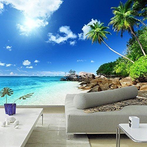 Lwcx Hermosa Playa Paisaje Foto Mural 3d Wallpaper Tema Hote
