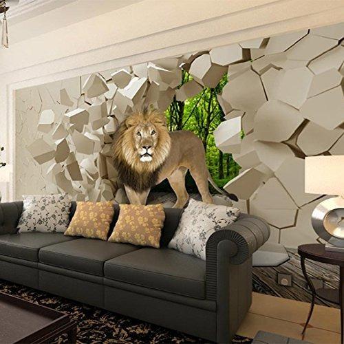 Lwcx Stereo Lion Broken Wall 3d Mural Photo Wallpaper Para L