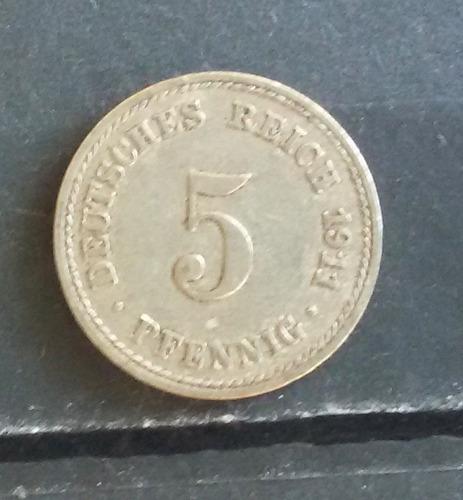 m 0002 moeda antiga alemanha 5 deutsches reich pfenning 1911