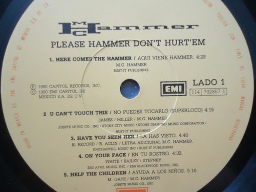 m. c. hammer / please hammer don´t hurt em lp acetato g