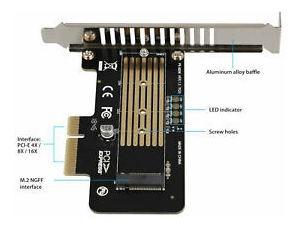 m-key m.2 nvme / ngff ssd a pci-e pci express x4 x8 tarjeta