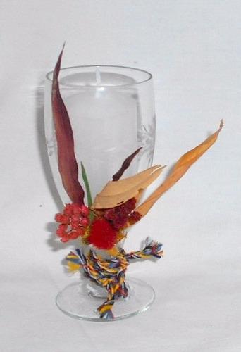 m10 portavela copa vintage cristal y vela decorado vintage