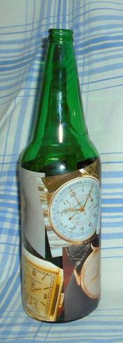 m102 botella reciclada con laminas de relojes laqueada