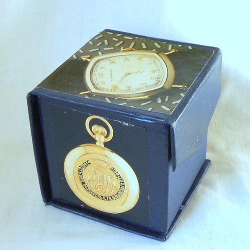 m176 caja decorada laminas de antiguos relojes forrada