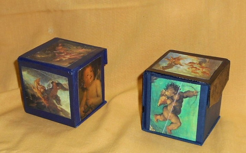 m4 cajas cubo shabby chic decoradas laminas angeles forradas