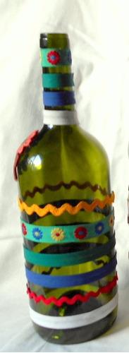 m56 /0 botella florero decorado vintage aplicacion y galones
