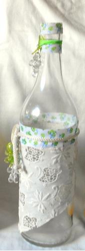 m56 /0 botella florero decorado vintage tela puntillas antig