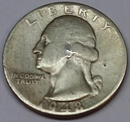 m64  moeda prata quarter dollar 1948 rara