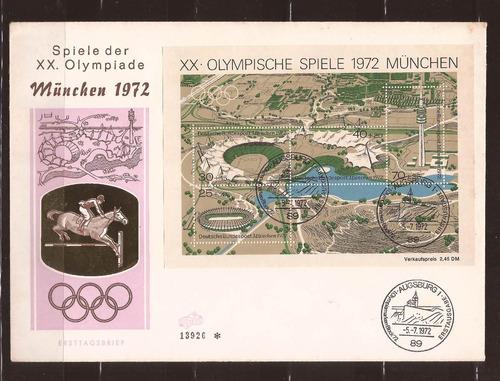 m683-alemanha fdc olimpiadas equitação bloco 1972