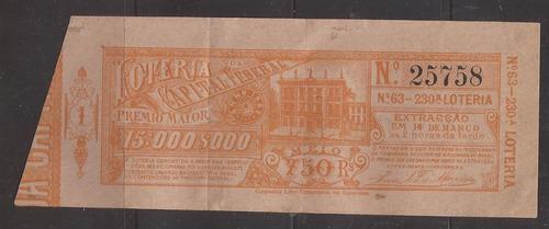 m750-antigo bilhete de loteria 1902 com selos fiscais