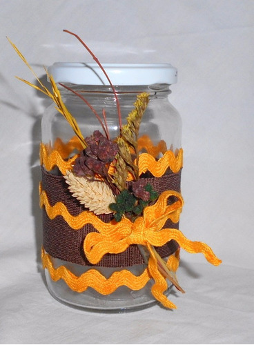m80 frascos con tapa decorados vintage shabby chic con flor