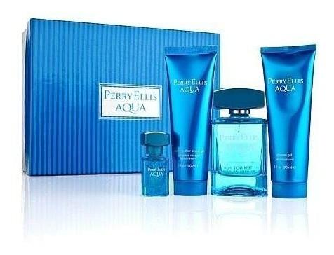 ma  perfume perry ellis aqua for men estuche 4 pzas.