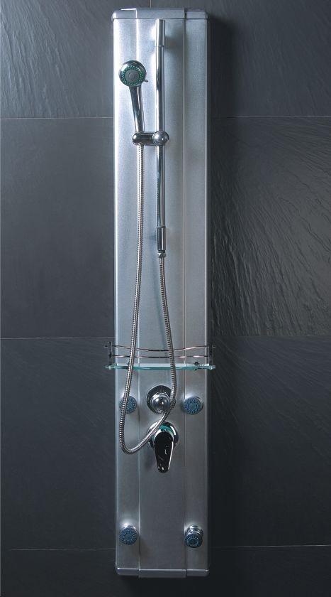 Maa panel de regadera 4 hidrojets en aluminio moderno for Llaves para regadera modernas