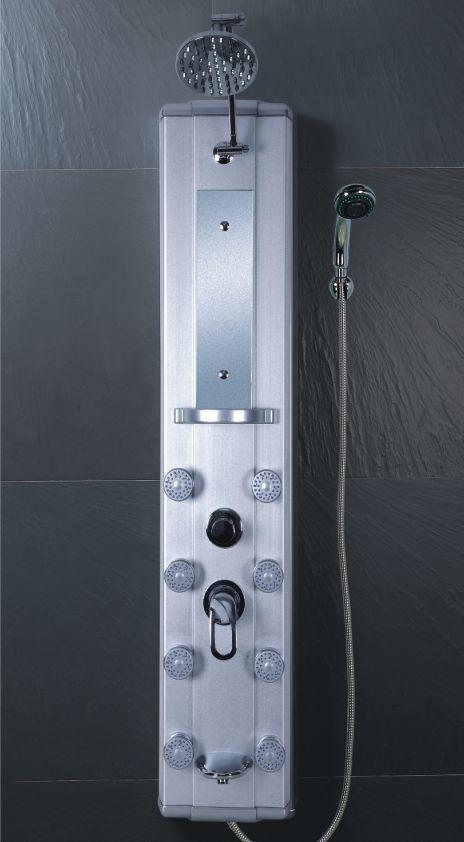Maa panel de regadera 8 hidrojets en aluminio moderno for Arbol para llave de regadera