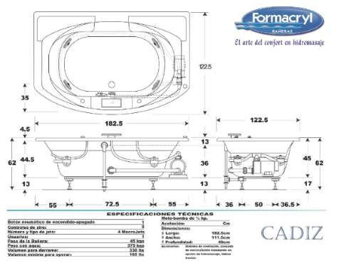 Maa Tina De Hidromasaje, Cadiz Formacryl Hidrojets - $ 22,500.00 en ...