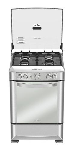 mabe cocina 4 quemadores gas 60cm inox horno + grill + luz