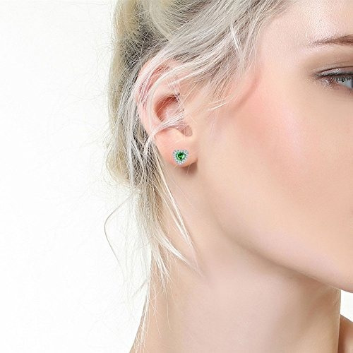 mabella sterling silver halo pendientes studs simulated e...