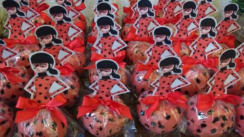 maçã do amor tema ladybug - 12 unidades