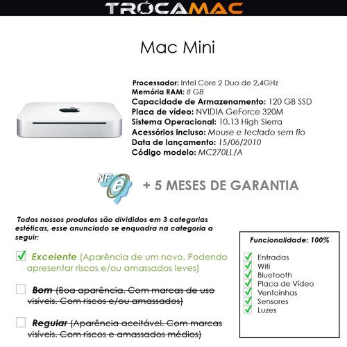 mac mini 2.4ghz 8gb 128gb ssd mc270ll/a recertificado nfe