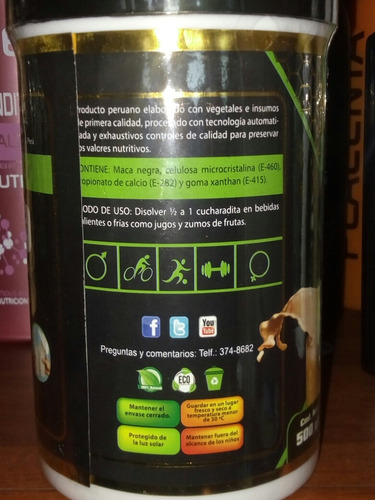maca negra en polvo fitogreen  500. gramos