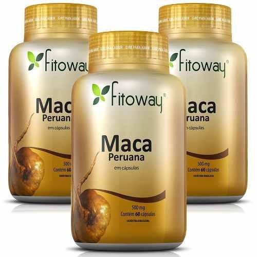 maca peruana 100% pura - fitoway - 3x60 cápsulas