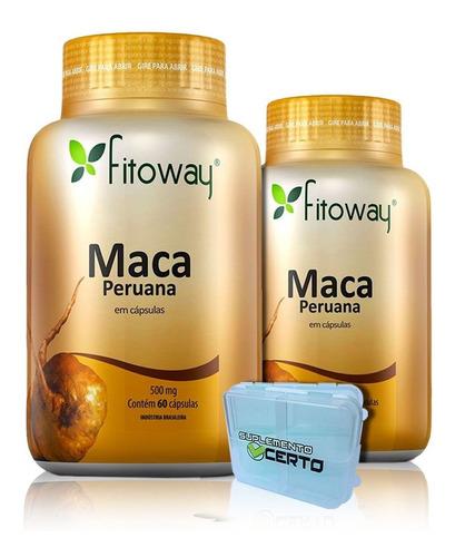 maca peruana 100% pura - fitoway - 3x60 capsulas promoção