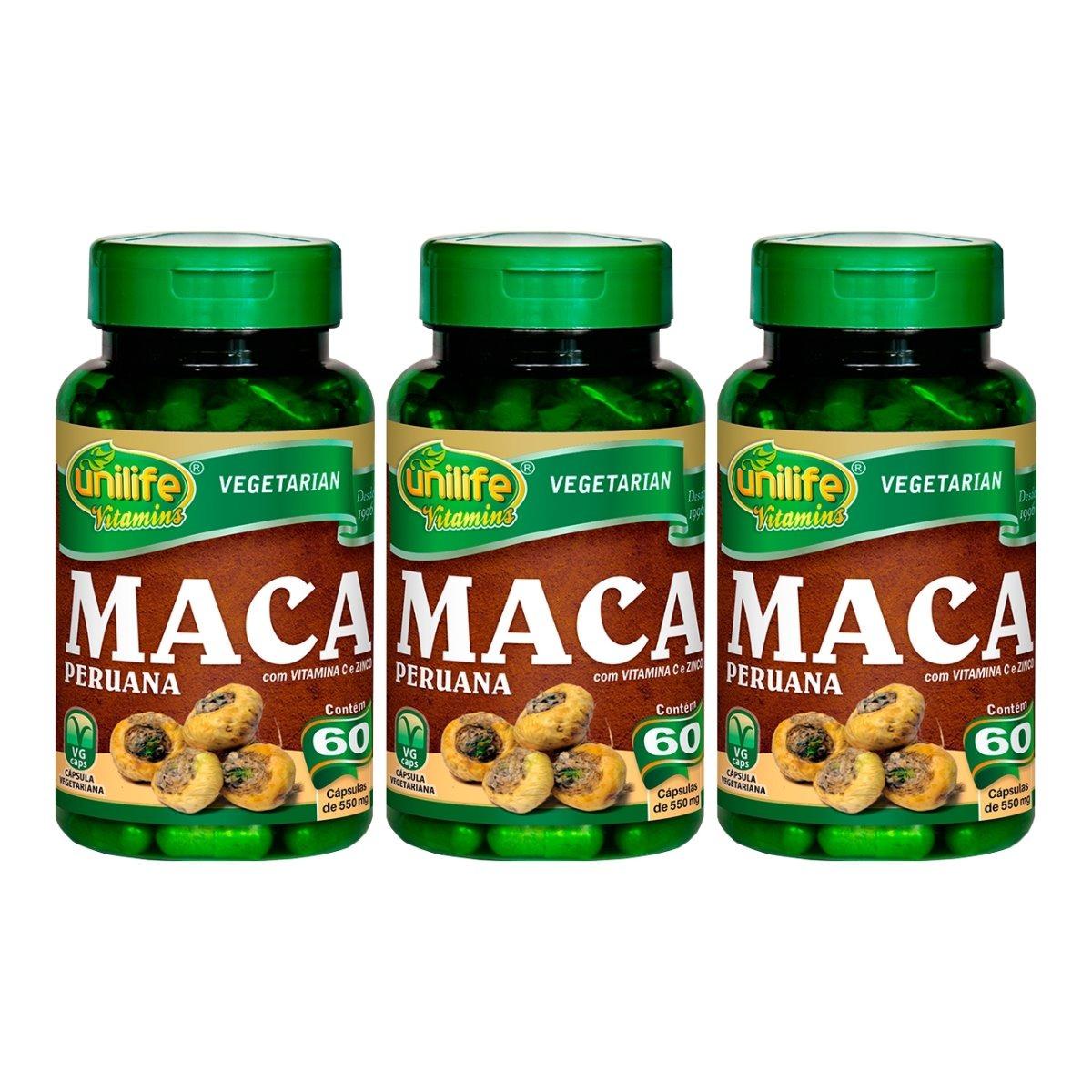 Maca Peruana Com Vitaminas 60 Cápsulas Unilife Kit 3 Unidades